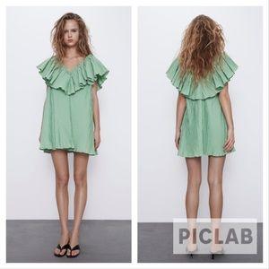 Zara washed green voluminous pleated dress